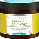 Calily Life Organic Moroccan Argan Oil Hair Mask with Dead Sea Minerals, 17 Oz.-Deep Conditioner and Nourishing - Detoxifies, Softens, Strengthens & Shines - Promotes Healing and Natural Hair Growth