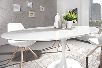 GroB Casa Padrino Moderner Yacht Design Esstisch Weiß Hochglanz 160 Cm Oval Esszimmer  Tisch