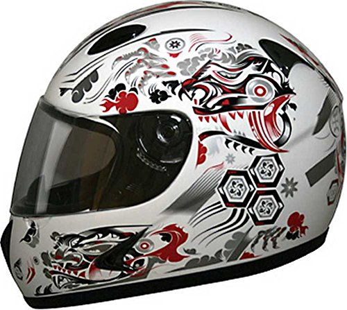 Dragon Face Full (HCI Red Dragon Full Face Motorcycle Helmet Fully-Vented ABS Shell 75-807 (XL))