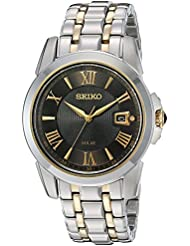 Seiko Mens SNE398 LGS Solar Analog Display Japanese Quartz Two Tone Watch