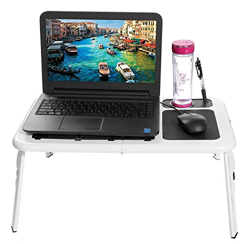Folding Lap Desk Adjustable Laptop Table for Home, Bed with 2 Cooling Fans, Mouse Pad, Drink Holder and Pen Holder by rampmu (Image #1)