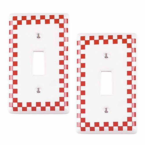 Porcelain Wall Switchplate - Porcelain Single Toggle Switch Plate Red Checkered Design Set Of 2 Renovator's Supply