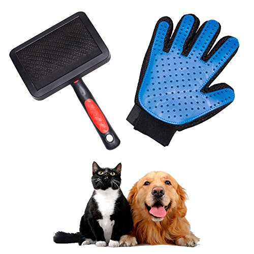 Pet Grooming Brush & Glove Set-Shedding Tool-For Dog, Cat, Horses- By Southmia