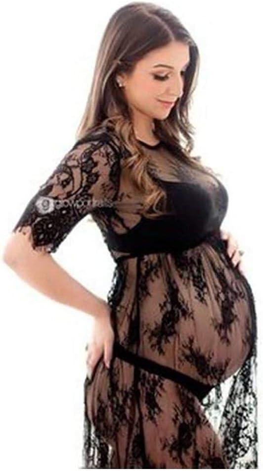 Negro lujiaoshout Maternidad Mama Transparente de Encaje Vestidos de Maternidad de fotograf/ía XL 1PCS
