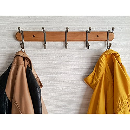 Tatkraft Charm Heavy Duty Coat Rack Wall Mount Natural Wood with 5 Double Hooks - Natural Wood Wall Rack