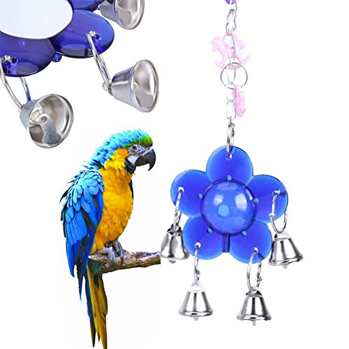 Freelance Shopping Mall Parrot Squirrel Acrylic Decorative Entertaining Hanging Pendant Bell Mirror Toys for Birds Supplies ()