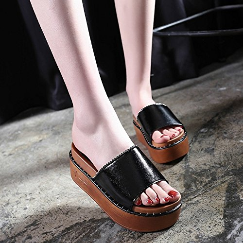Slip WHLShoes Low slippers Shallow Slippers women Anti Square And Lady Black Fashionable One And Summer Wearable Casual rPnrHU