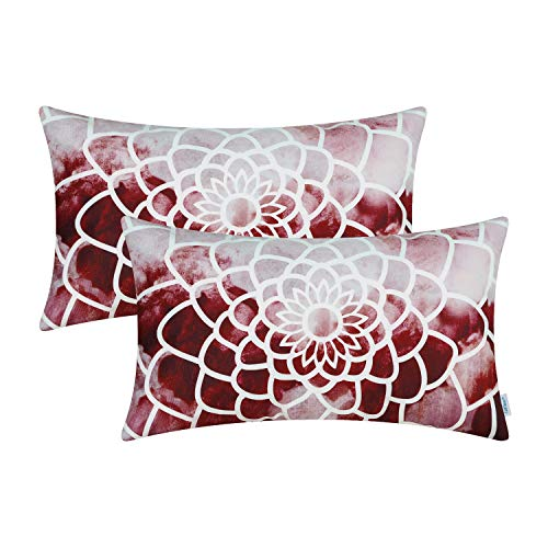 CaliTime Pack of 2 Cozy Fleece Bolster Pillow Cases Covers for Couch Bed Sofa Manual Hand Painted Print Colorful Dahlia Compass 12 X 20 Inches Burgundy