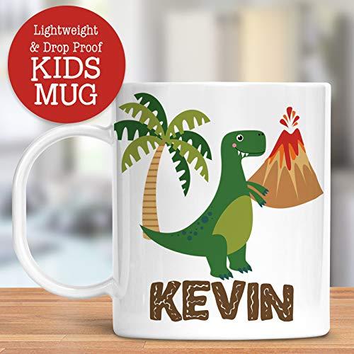 Mugs Plastic Personalized - Kids Personalized Dinosaur Mug Customize with Child's Name   Lightweight Unbreakable Cup   Dishwasher Safe   BPA and Melamine Free