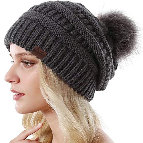 Win Change Womens Winter Knit Beanie Hat-Winter Knit Beanie Hat for Women with Faux Fur Pompom Winter Soft Warm Ski Cap One Pack(Dark Grey)