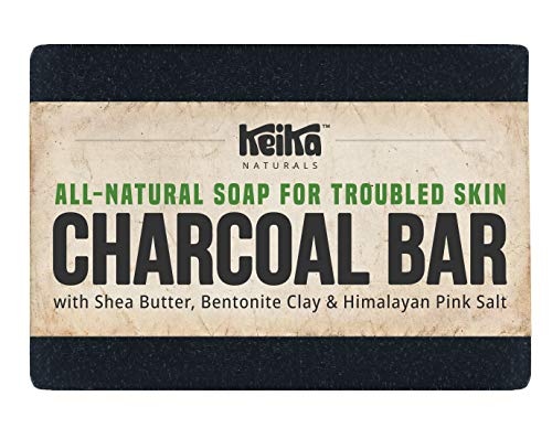 Keika Naturals Charcoal Soap Bar with Shea Butter for Face Acne Blackheads Eczema Psoriasis | All-Natural. Fragrance-Free. Non-GMO. Handmade. Facial Cleanser Black Soap for Oily Skin.