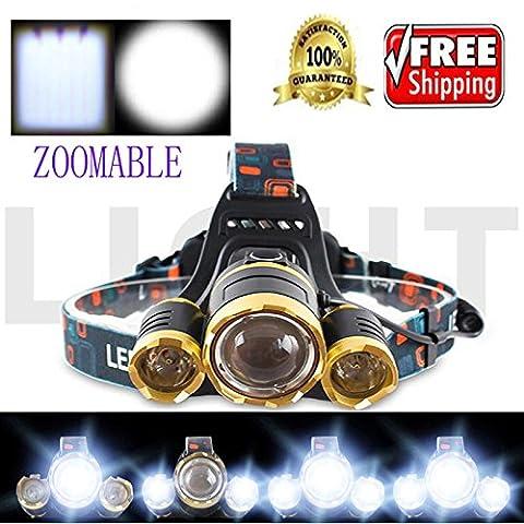 WALLER PAA 20000 Lumens CREE LED Headlamp Torch Cree 3x XM-L T6 Headlamp Head Light Lamp (Gold) - Motorcycles Neon Clock