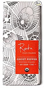 Raaka Chocolate Ghost Pepper Dark Chocolate 68% Cacao (1.8oz Bar - 3 Pack), Organic, Non-GMO, Kosher Premium Craft Chocolate, Vegan, Gluten and Soy Free, Bittersweet, Bean-to-Bar Chocolate