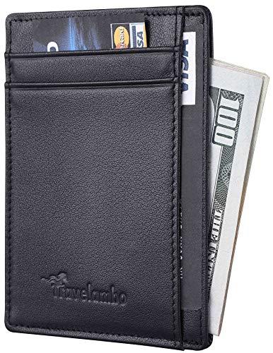 Travelambo RFID Front Pocket Minimalist Slim Wallet Genuine Leather Small Size (black)