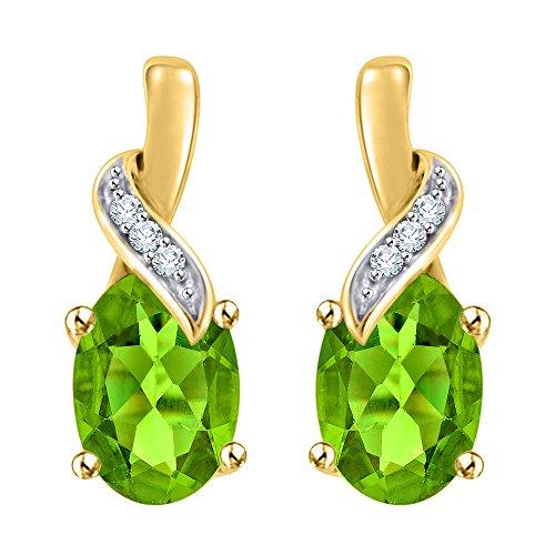 - KATARINA Diamond and Oval Cut Peridot Drop Earrings in 14K Yellow Gold (2 cttw, G-H, I2-I3)