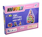 MagWorld Toys Magnetic Construction Pastel Colors-42 Piece Set. Create 2D and 3D Shapes, Figures & Architecture. STEM Play Age 3 and Up.