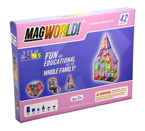- MagWorld Toys Magnetic Construction Pastel Colors-42 Piece Set. Create 2D and 3D Shapes, Figures & Architecture. STEM Play Age 3 and Up.