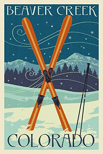 Beaver Creek, Colorado - Crossed Skis - Letterpress (12x18 SIGNED Print Master Art Print w/Certificate of Authenticity - Wall Decor Travel Poster)