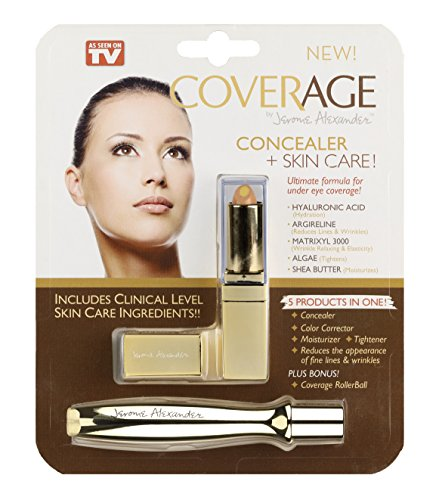 CoverAge by Jerome Alexander - A 5-in-1 Concealer Stick and Rollerball for Undereye Coverage Makeup - Concealer, Corrector, Moisturizer and Tightener All-In-One by Jerome Alexander
