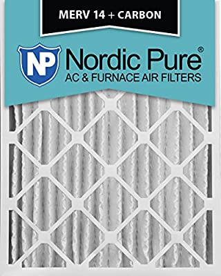 Nordic Pure 20x25x4M14+C-2 MERV 14 Plus Carbon AC Furnace Air Filters, Qty-2