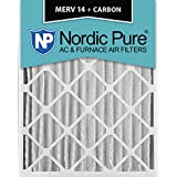 Nordic Pure 16x20x4M14+C-1 MERV 14 Plus Carbon AC Furnace Air Filters, Qty-1