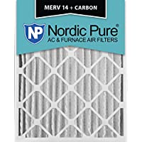 Nordic Pure 16x20x4 (3-5/8 Actual Depth) MERV 14 Plus Carbon AC Furnace Air Filters, Box of 1