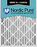 Nordic Pure 16x20x4 (3-5/8 Actual Depth) MERV 14 Plus Carbon AC Furnace Air Filters, Box of 2
