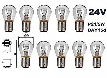 BAY15d Gl/ühbirne Lampen 10 St/ück INION/® 2-Phasen Lampen Dual Sockel Nfz LKW Beleuchtung Gl/ühlampe Glassockellampe Mit E-Pr/üfzeichen und ist f/ür den Stra/ßenverkehr zugelassen Soffitte P21 //5W 24 Volt