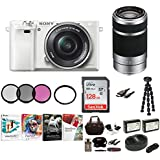 Sony Alpha a6000 Mirrorless Camera w/ 16-50mm & 55-210mm Lenses & 128GB Bundle - White