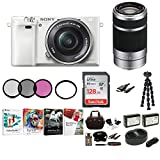 Sony Alpha a6000 Mirrorless Camera w/ 16-50mm & 55-210mm Lenses & 128GB Bundle – White Review