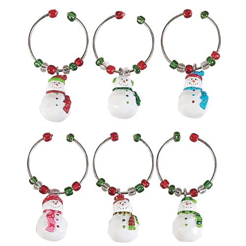 Boston Warehouse Let it Snow Wine Snowman Glass Charms (Set of 6)