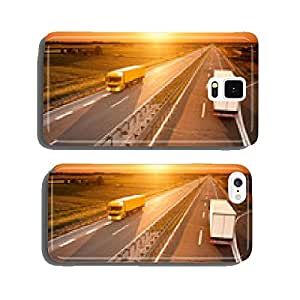 Yellow and white truck in motion blur on the highway cell phone cover case Samsung S6