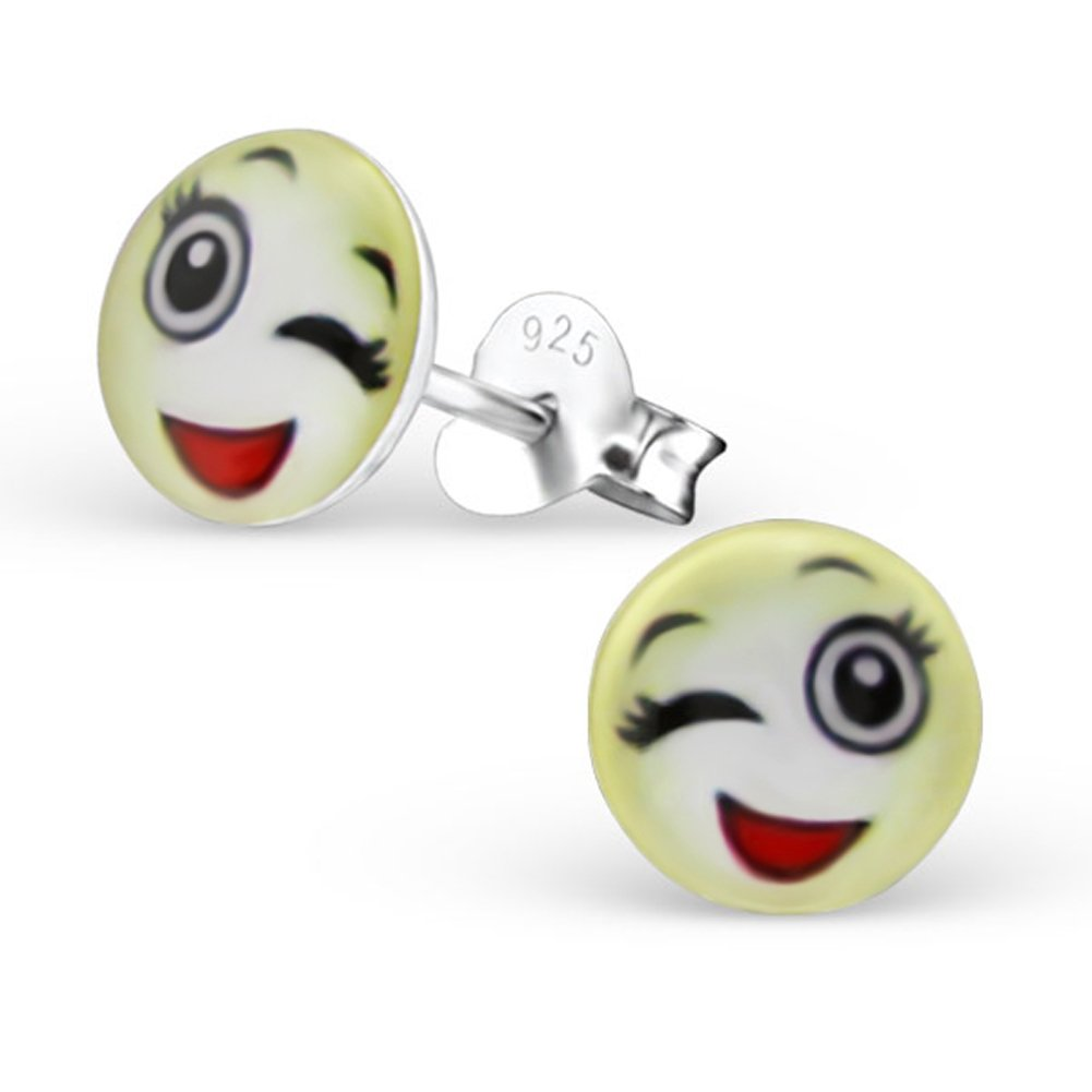 Cute Emoji Earrings Accessories Girl Studs Posts Sterling Silver Smile Face