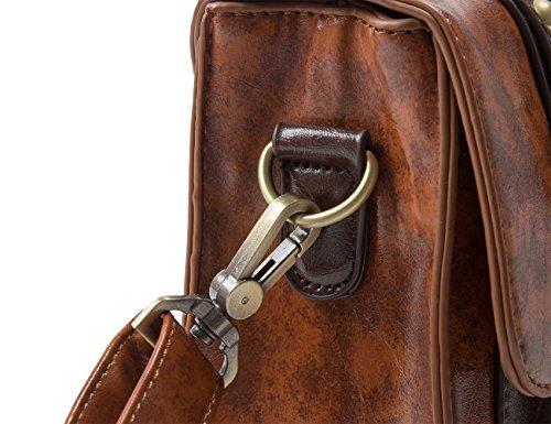 ECOSUSI Faux Leather Vintage Small Messenger Purse School Satchel Bag Coffee