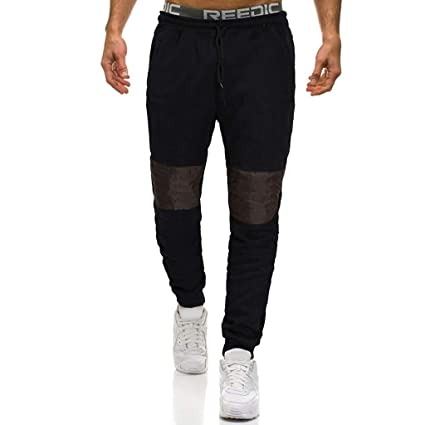 294a3e43b51 Image Unavailable. Image not available for. Color  Men Pants Casual Long  Patchwork Pockets Jogger Gym Athletic Running Sports Trousers Sweatpants  Overalls