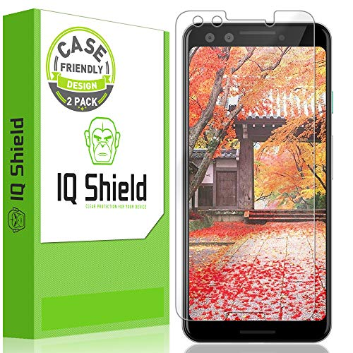 (Google Pixel 3 Screen Protector [Case Friendly](2-Pack), IQ Shield LiQuidSkin Full Coverage Screen Protector for Google Pixel 3 HD Clear Anti-Bubble Film)