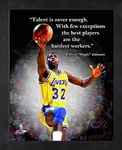 Magic Johnson LA Lakers Pro Quotes Framed 8x10 Photo
