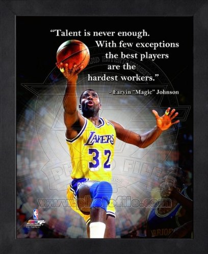 Magic Johnson La Lakers - Magic Johnson LA Lakers Pro Quotes Framed 8x10 Photo