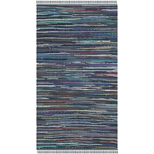 Safavieh Rag Rug Collection RAR121C Hand Woven Ink and Multi Cotton Area Rug (3' x 5')