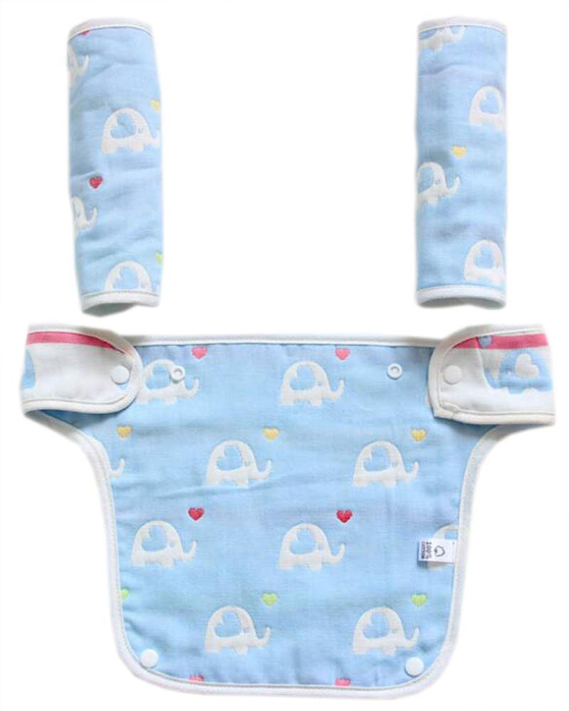Baby Carrier Reversible Teething Drool Pads Fits Ergobaby Four Position 360 3-Piece Set for Most Baby Carrier Blue Elephent