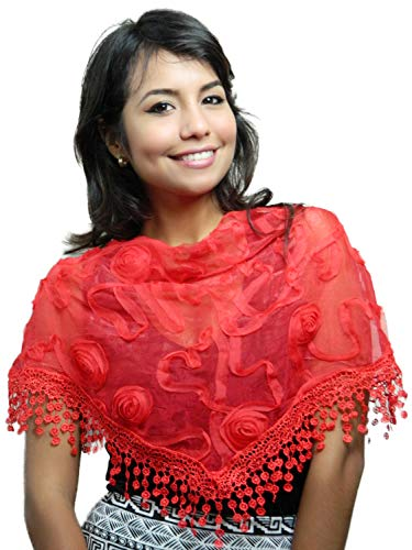 Cindy and Wendy Lightweight Triangle Floral Fashion Lace Fringe Scarf Wrap for Women (Red)