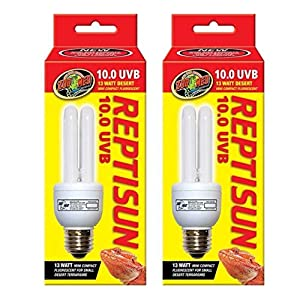 (2 Pack) Zoo Med Reptisun 10.0 Uvb Mini Compact Fluorescent 10