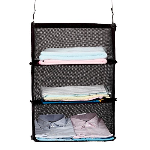 USONG 3 Layers Portable Travel Storage Bag Hook Hanging Nylon Mesh Bag Storage Organizer Wardrobe Clothes Shoes Storage Rack Holder by USONG