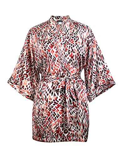 momomio Short Silk Satin Robe for Women Floral Animal Print Loungewear Sleepwear (L, Abstract -