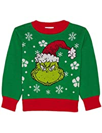 Disney Infant Boys Green Grinch That Stole Christmas Snowflake Holiday Sweater