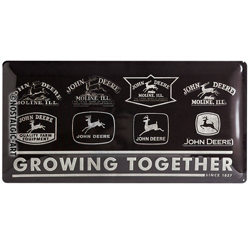 Nostalgic-Art 27023 Tin Sign John Deere Growing Together 25 x 50 cm Metal Multi-Coloured 50 x 0.2 cm