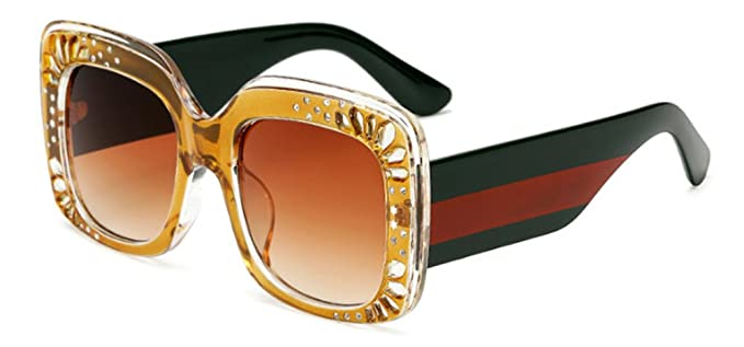 Lunettes de soleil CHTIT Miroir Homme Femme Ronde Style de yeux de chat Diamant # TSGL270 (vert) FWDhj
