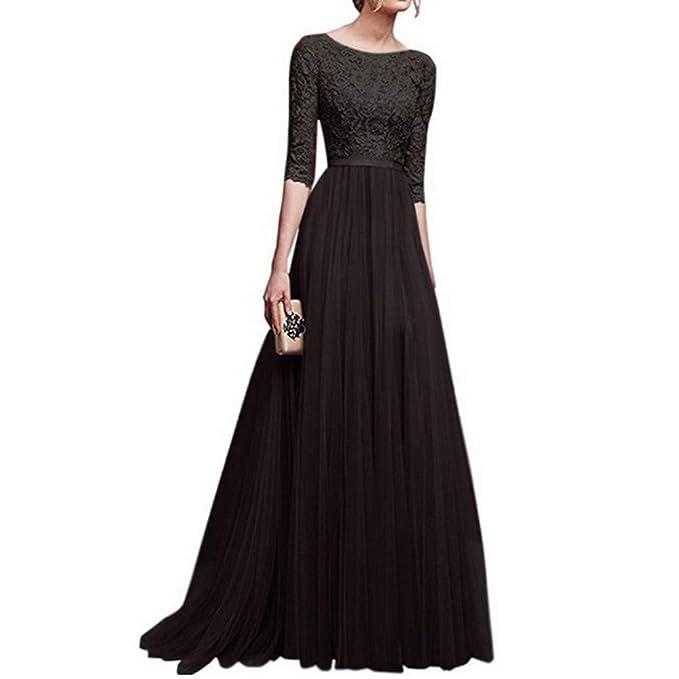 053560b220d9 Mambain abito Vestiti Lunghi Donna Stile Impero Eleganti da Cerimonia Sera  Slim Fit Pizzo Maniche Tre Quarti Vestito per Donne E  Ragazza
