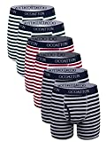 OCOATTON Men's Boxer Briefs Cotton Striped Underwear with Front Fly 6-Pack (XXXL, 2black/2green/2red)