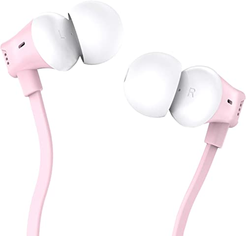 Earbuds, Vogek Tangle-Free Flat Cord Ergonomic in-Ear Headphones with Dynamic Crystal Clear Sound, Earphones with S M L Eartips Compatible with Samsung, Android Phone and More Pink